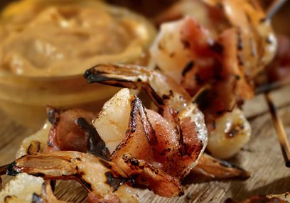 Shrimp Skewers with Red Lentil Puree